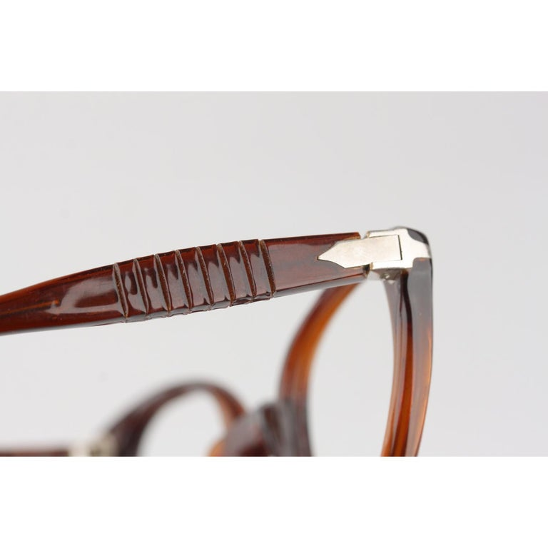 Persol Meflecto Rare Brown Eyeglasses 1940s Cicogna Ratti Torini Logo 125 Wide For Sale 6