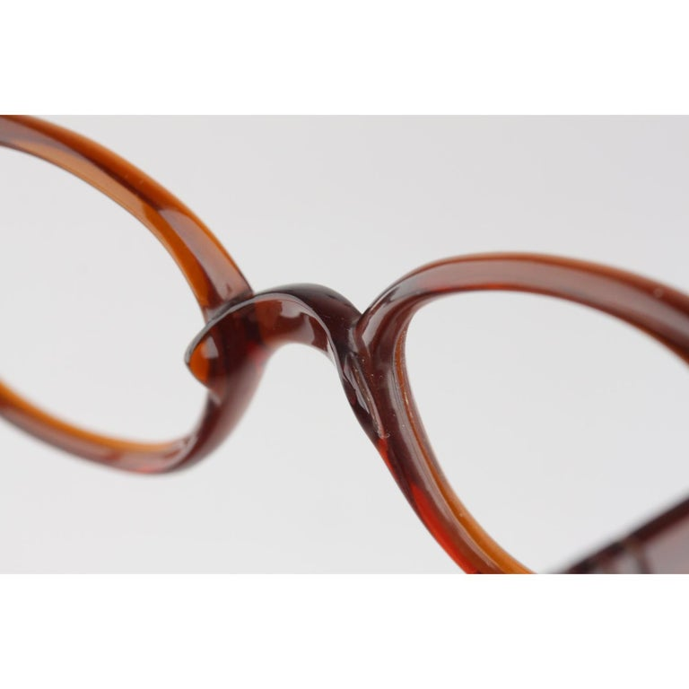 Persol Meflecto Rare Brown Eyeglasses 1940s Cicogna Ratti Torini Logo 125 Wide For Sale 7