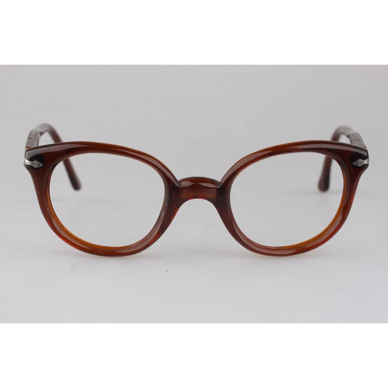 Women's or Men's Persol Meflecto Rare Brown Eyeglasses 1940s Cicogna Ratti Torini Logo 125 Wide For Sale