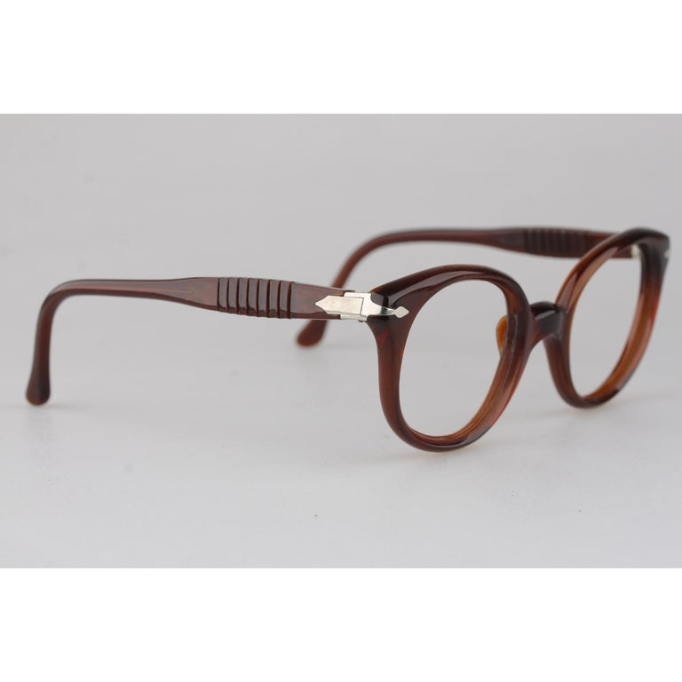 Persol Meflecto Rare Brown Eyeglasses 1940s Cicogna Ratti Torini Logo 125 Wide For Sale 1