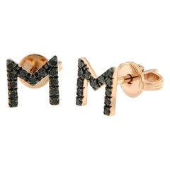 Personalised Precious Diamond Stud 18 Karat Gold Earrings for Her Made in Italy