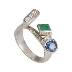 Personalized 18 Karat Gold 1.12 Karat Diamond Sapphire Emerald Cocktail Ring