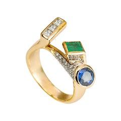 Personalized 18 Karat Gold 1.12 Karat Diamond Sapphire Emerald Design Ring
