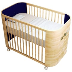 Personalized Embrace Love Crib in Beech Wood and Navy Blue by Misk Nursery