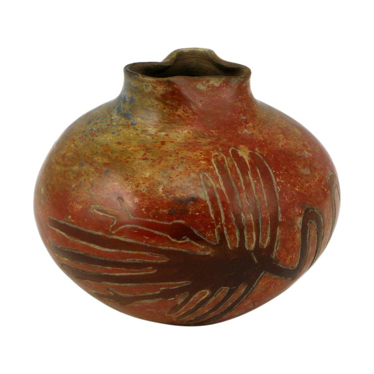 Peruvian Chulucanas Pottery Vase By Julio Flores