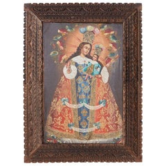Peruvian Cuzco School Colonial Style Madonna Child Painting
