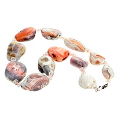 Gemjunky Rare Peruvian Natural Pink Opal and Rose Quartz Necklace