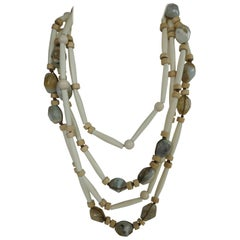 Peruvian Opal Horn Pale Wood Long Gemstone Necklace