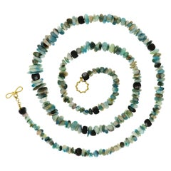 Peruvian Opal Tumbled Beads with Black Mother of Pearl Rondelle Necklace
