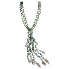 Peruvian Opal Vermeil 925 Baroque Cultured Pearls Long Lariat Gemstone Necklace