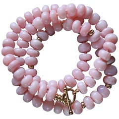 Peruvian Pink Opal Bead Bracelet Necklace Yellow Gold Toggle Clasp