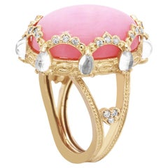 Peruvian Pink Opal Diamond Gold Oval Ring with Rainbow Moonstones