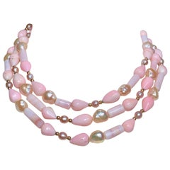 "53"" Long Peruvian Pink Opal Necklace with 14 Karat Gold Details"