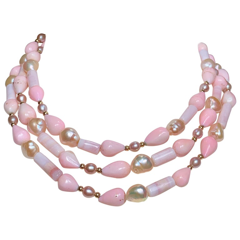 "53"" Long Peruvian Pink Opal Necklace with 14 Karat Gold Details For Sale"