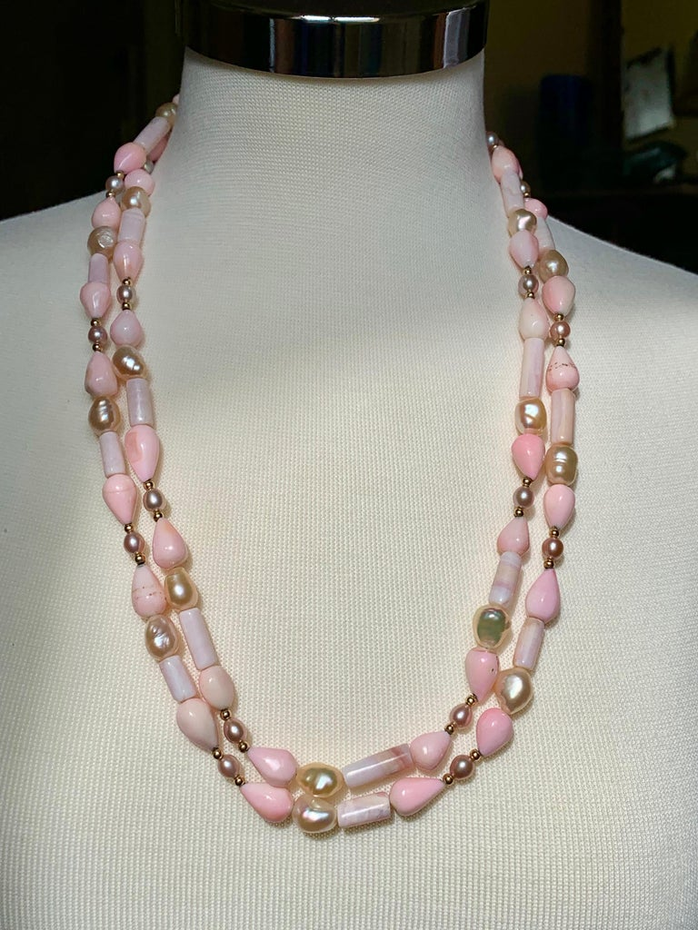 Sabrina Balsky Jewelry One of a kind  Natural Peruvian Pink Opal Handmade Necklace with Pear shaped and tubular shaped Peruvian Opals with Natural Lustrous Baroque Freshwater Pink Pearls and Seed Pearls bordered with 14K gold beads.  53