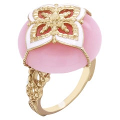Peruvian Pink Opal Yellow Gold and White Enamel Cocktail Ring