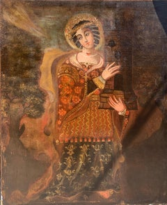Large 18th Century Spanish Colonial (Cuzco) Oil Painting of Saint Barbara