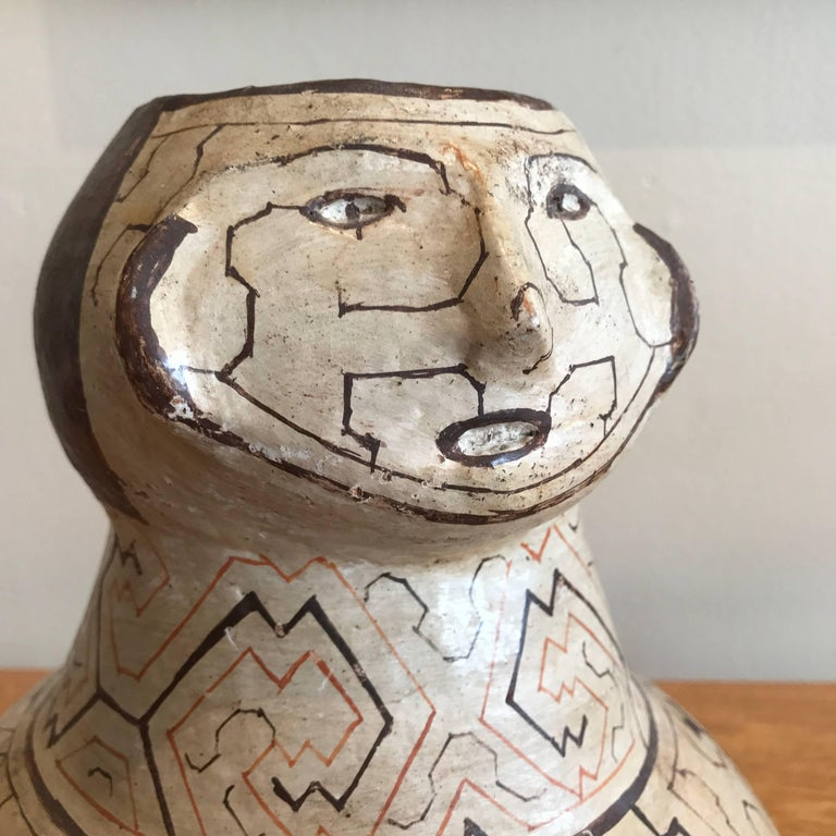 Ceramic Peruvian Shipibo Pottery Vase or Urn For Sale