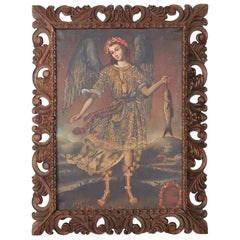 Peruvian Spanish Colonial Cuzco School Style Religious Painting