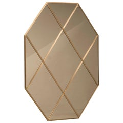 Pescetta Customizable Octagonal Brass Frame Panelled Bronze Mirror