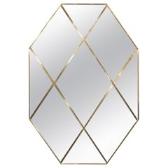 Pescetta Customizable Octagonal Brass Frame Panelled Smoked Mirror