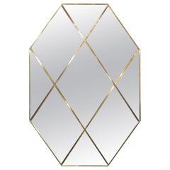 Pescetta Customizable Octagonal Brass Frame Panelled Smoked Mirror