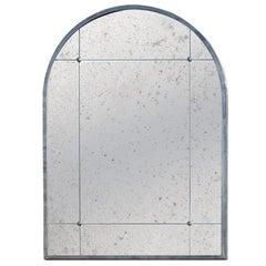 Pescetta Industrieller Zeitgenössischer Silber Eisen Spiegel mit Rahmen mit Getäfelte Runde Kanten