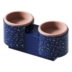 "Pet Bowls ""Qubo"" in Navy Blue and Terracotta"