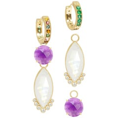 Petal Amethyst Charms and Intricate 18 Karat Gold Reversible Huggies Earrings