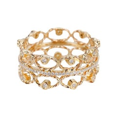 Petal Belt 18 Karat Yellow Gold 0.336 Carat Diamonds Open Lace Crown Ring