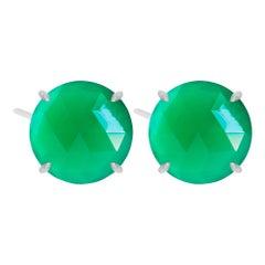 Petal Green Onyx Silver Stud Earrings