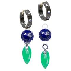 Petal Lapis Charms and Florentine Moonstone Oxidized Hoop Earrings