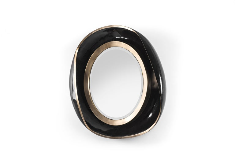 Art Deco Petal Mirror in Black Shell and Bronze-Patina Brass by R&Y Augousti For Sale