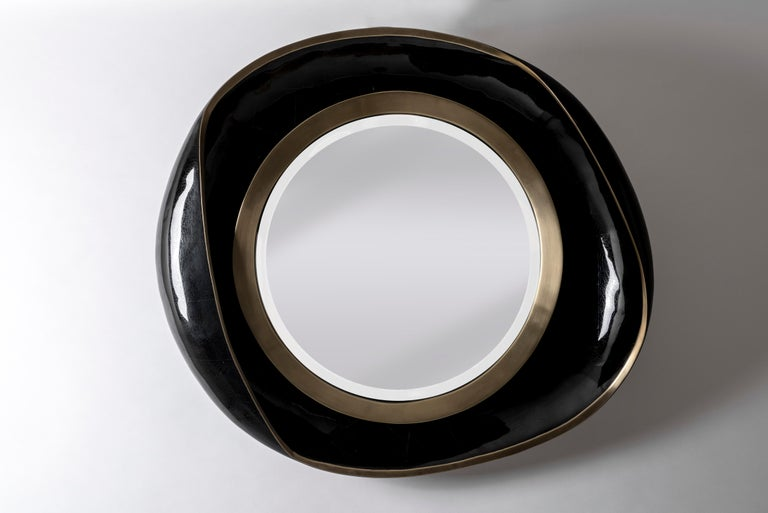 Hand-Crafted Petal Mirror in Black Shell and Bronze Patina Brass by R&Y Augousti For Sale