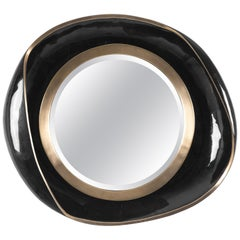 Petal Mirror in Black Shell and Bronze-Patina Brass by R&Y Augousti