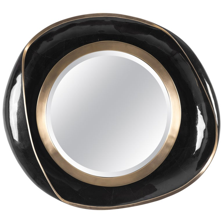 Petal Mirror in Black Shell and Bronze-Patina Brass by R&Y Augousti For Sale