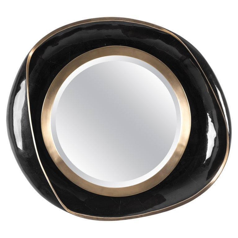 Petal Mirror in Black Shell and Bronze Patina Brass by R&Y Augousti For Sale