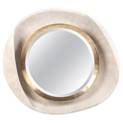 Petal Mirror in Cream Shagreen and Bronze-Patina Brass by R&Y Augousti