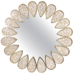 Petal Mother of Pearl and Brass Mirror