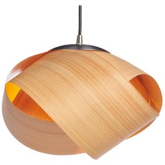 PETAL Natural Wood Mini Pendant with Brushed Steel
