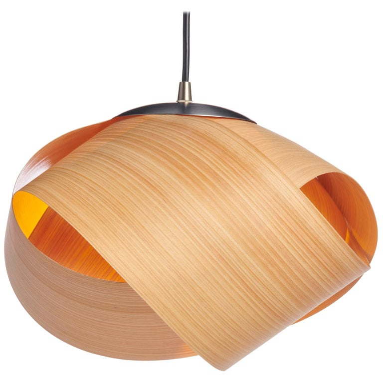 Scandinavian Design natural wood mini pendant with brushed steel For Sale