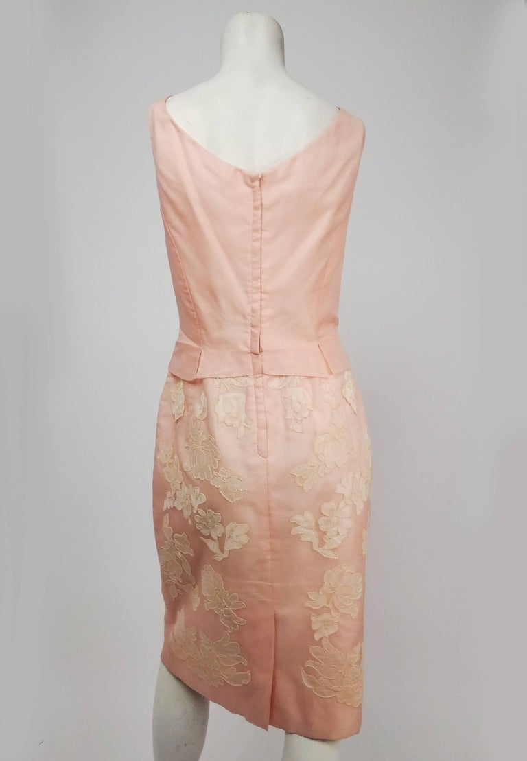 Beige Petal Pink Organza Cocktail Dress w/ Lace Appliqué, 1960s For Sale