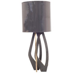 Petal Table Lamp in Black Shagreen and Bronze Patina Brass by R&Y Augousti