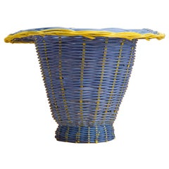 Petal Vase Hand Woven in Blue, and Lemon Dyed Reed by Studio Herron