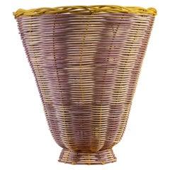 Petal Vase hand woven in Lavender, Natural and Lemon by Studio Herron