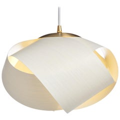Scandinavian Modern white wood pendant with brushed brass