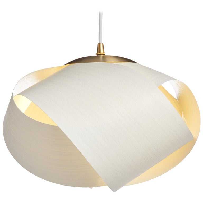 Scandinavian Modern white wood pendant with brushed brass For Sale