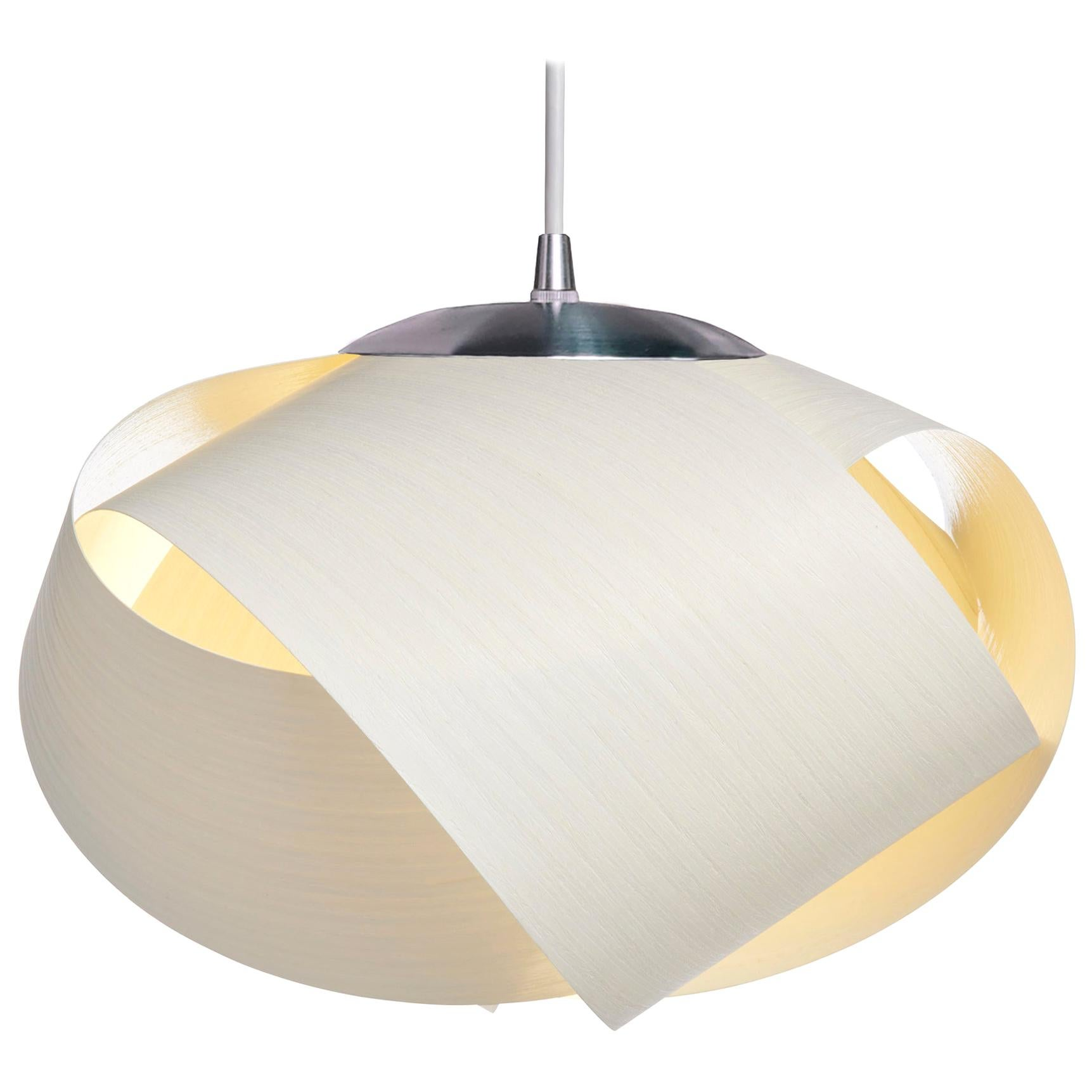 Scandinavian Modern white wood pendant with brushed steel