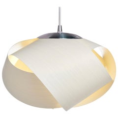 Petal White Eco Wood Mini Pendant with Brushed Steel