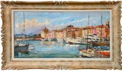 Huge American impressionist painting - Yachts in St. Tropez - Cote d'Azur 70s